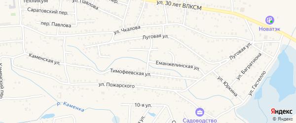 Еманжелинская улица на карте Коркино с номерами домов