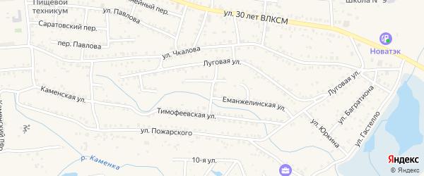 Хлебный переулок на карте Коркино с номерами домов