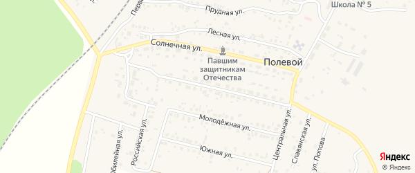 Железнодорожная улица на карте Полевого поселка с номерами домов