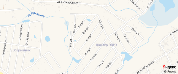 5-я улица на карте садового товарищества Шахтера ЭВРЗА с номерами домов