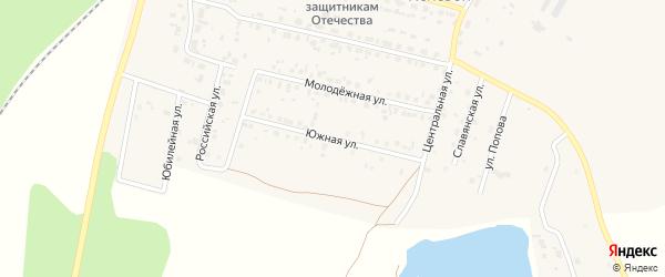 Южная улица на карте Полевого поселка с номерами домов