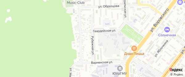 Рубежная улица на карте Челябинска с номерами домов