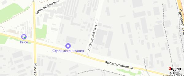 Западный 2-й проезд на карте Челябинска с номерами домов