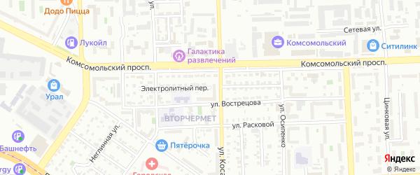 Электролитный переулок на карте Челябинска с номерами домов