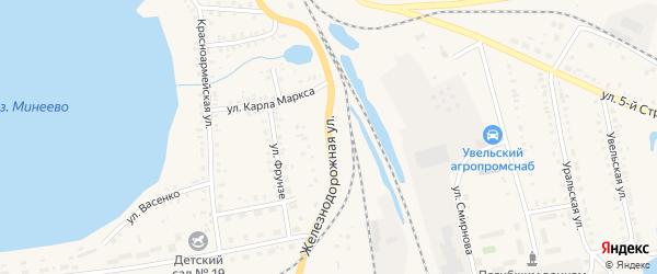 Железнодорожная улица на карте Увельского поселка с номерами домов