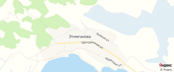 Карта деревни Этимганова в Челябинской области с улицами и номерами домов