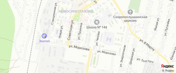 Улица Суворова (Новосинеглазово) на карте Челябинска с номерами домов