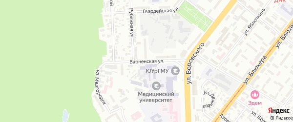Варненская улица на карте Челябинска с номерами домов