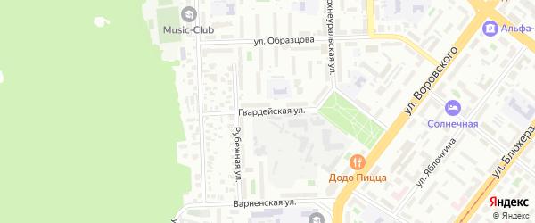 Гвардейская улица на карте Челябинска с номерами домов