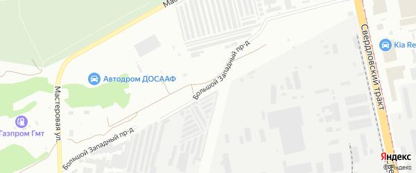 Большой Западный проезд на карте Челябинска с номерами домов