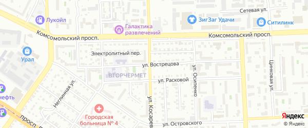 Улица Вострецова на карте Челябинска с номерами домов