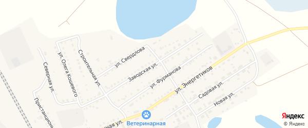 Заводская улица на карте Увельского поселка с номерами домов