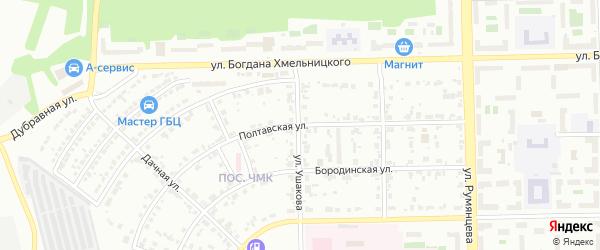 Полтавская улица на карте Челябинска с номерами домов