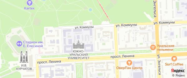 Институтский 1-й переулок на карте Челябинска с номерами домов
