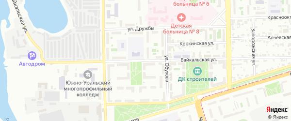 Байкальская улица на карте Челябинска с номерами домов