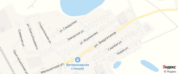 Улица Фурманова на карте Увельского поселка с номерами домов