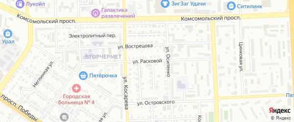 Улица Расковой на карте Челябинска с номерами домов