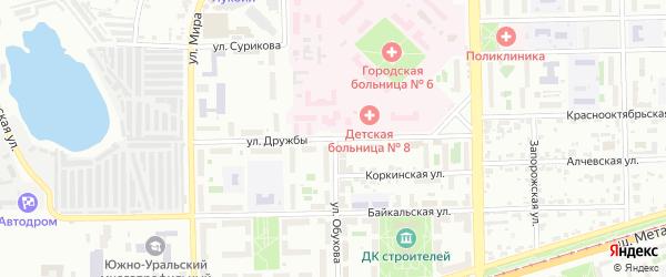 Сад СНТ Уралец Дружбы ул на карте Челябинска с номерами домов