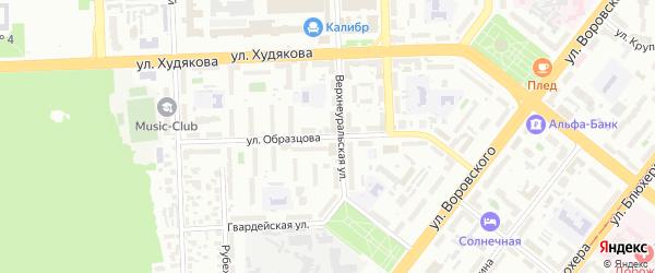 Улица Образцова на карте Челябинска с номерами домов