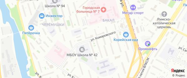 Улица Комаровского на карте Челябинска с номерами домов