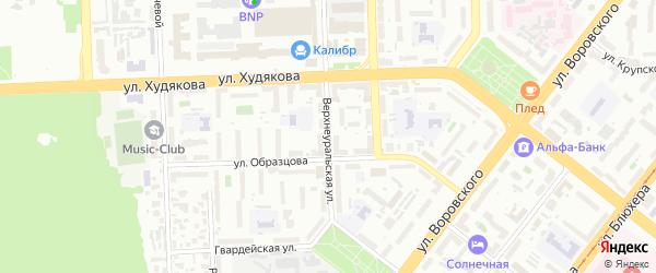 Верхнеуральская улица на карте Челябинска с номерами домов