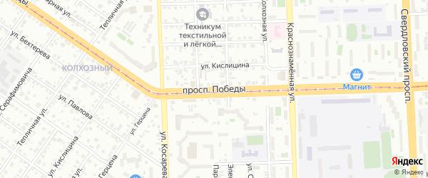 Проспект Победы на карте Челябинска с номерами домов