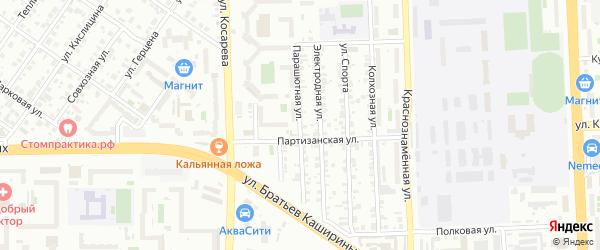 Парашютная улица на карте Челябинска с номерами домов