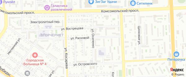 Улица Осипенко на карте Челябинска с номерами домов