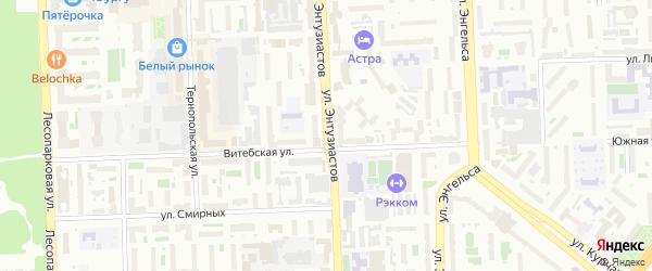 Улица Энтузиастов на карте Челябинска с номерами домов