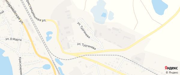 Улица Тургенева на карте Увельского поселка с номерами домов