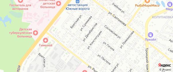 Улица Декабристов на карте Челябинска с номерами домов
