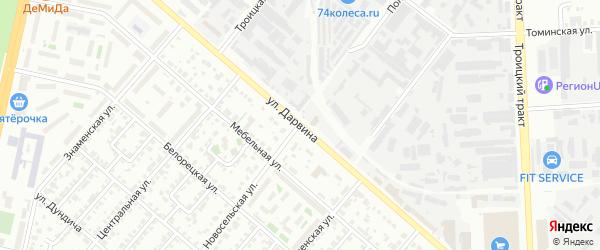 Улица Дарвина на карте Челябинска с номерами домов