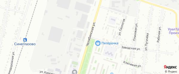 Челябинская улица на карте Челябинска с номерами домов