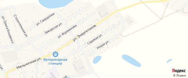 Садовая улица на карте Увельского поселка с номерами домов