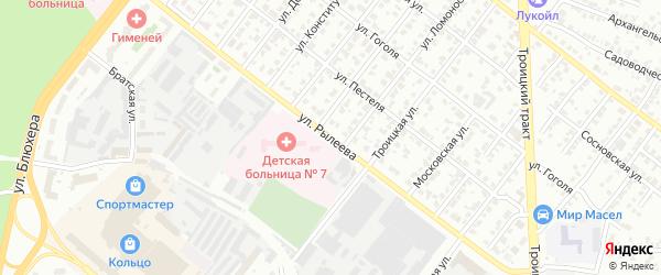 Улица Рылеева на карте Челябинска с номерами домов
