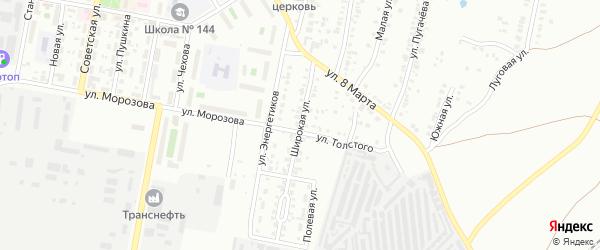 Широкая улица на карте Челябинска с номерами домов