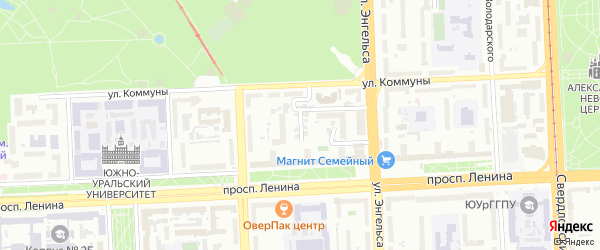 Кордонный 2-й переулок на карте Челябинска с номерами домов