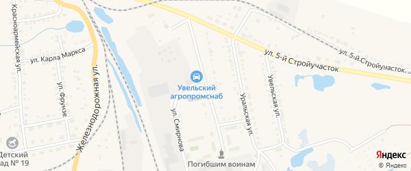 Улица Сафонова на карте Увельского поселка с номерами домов