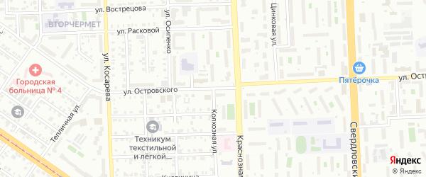 Улица Островского на карте Челябинска с номерами домов