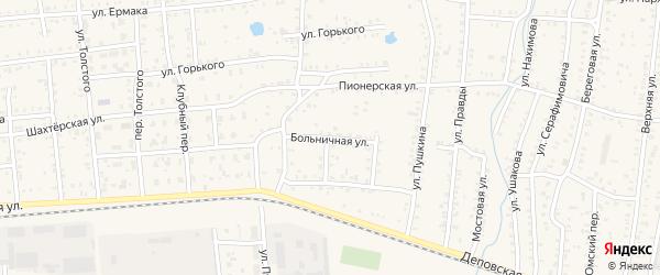 Больничная улица на карте Коркино с номерами домов