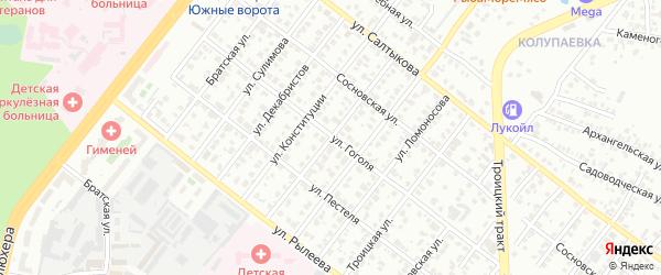 Улица Красных Зорь на карте Челябинска с номерами домов
