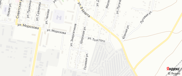 Улица Толстого (Новосинеглазово) на карте Челябинска с номерами домов