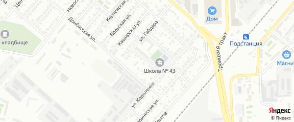 Мебельный 2-й переулок на карте Челябинска с номерами домов