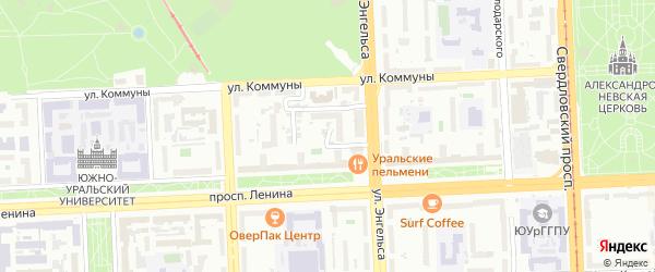 Кордонный 3-й переулок на карте Челябинска с номерами домов