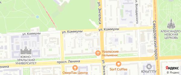 Кордонный 1-й переулок на карте Челябинска с номерами домов