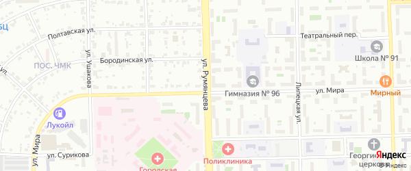 Улица Румянцева на карте Челябинска с номерами домов