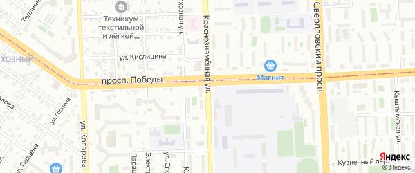 Краснознаменная улица на карте Челябинска с номерами домов