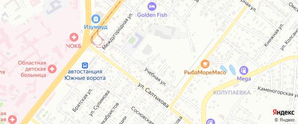 Учебный переулок на карте Челябинска с номерами домов