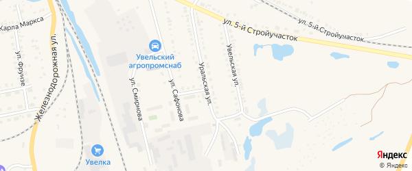 Уральская улица на карте Увельского поселка с номерами домов