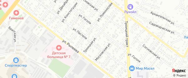 Троицкая улица на карте Челябинска с номерами домов